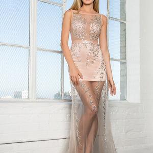 Mermaid Illusion Neckline Cute Long Dress GSGL2087